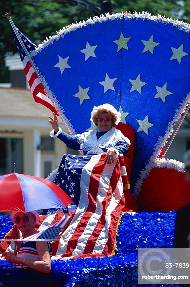 Patriotic float at Bristol's famous 4th of July parade, Bristol, Rhode Island, United States of America, North America