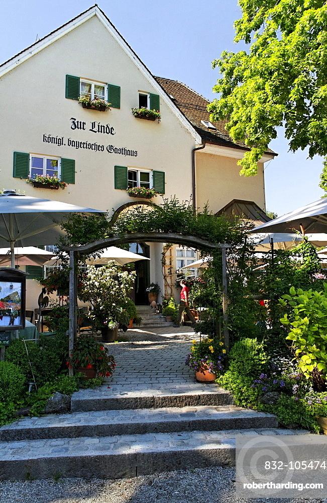 Zur Linde restaurant, Fraueninsel island, lake Chiemsee, Chiemgau, Upper Bavaria, Germany, Europe