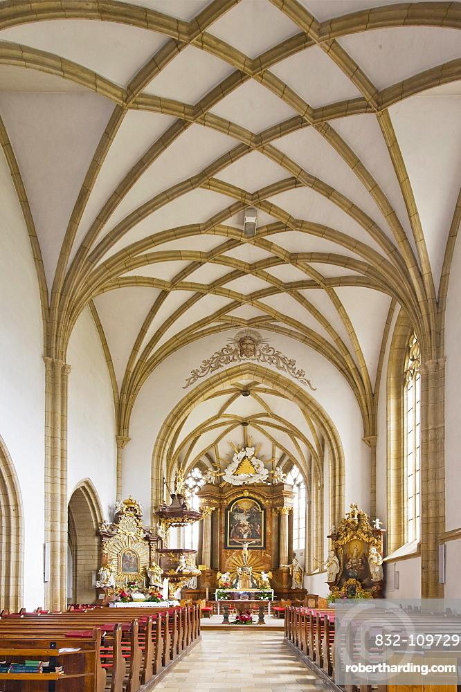 Gothic nave, triumphal arch, Church of St. John the Baptist, Bucklige Welt region, Lower Austria, Austria, Europe