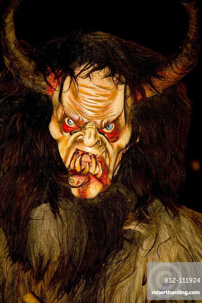 Krampus mask, devil costume in Ora, Alto Adige, Italy, Europe