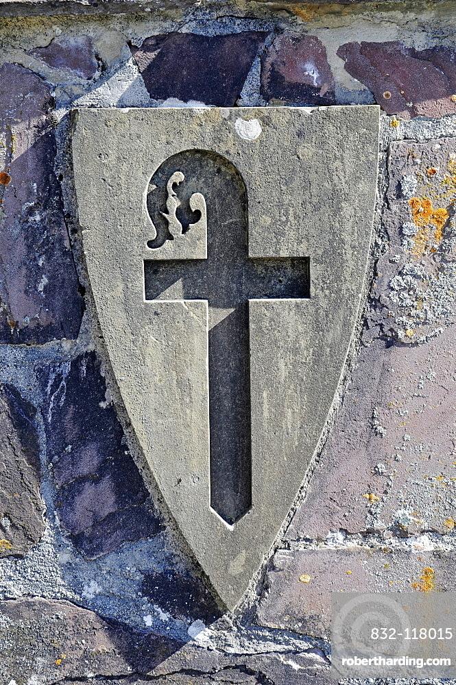 Pilgrim's staff, symbol, monastery, church, inn, pilgrimage station, Camino de Santiago or the Way of St James, Roncesvalles, Orreaga, Pyrenees, Navarre, Spain, Europe