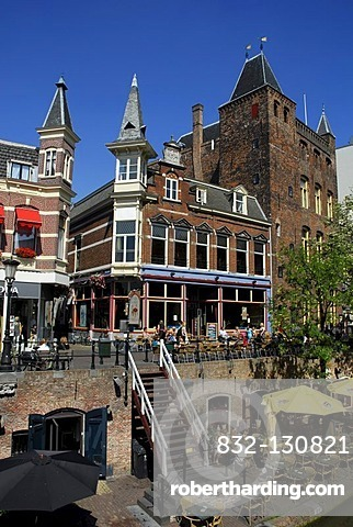 Cafe, bar with terrace by the canal, Oudegracht, old town centre, Utrecht, Holland, Netherlands, Europe