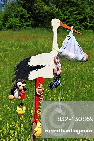 Stork showing the birth of a child, local custom, Reit im Winkl, Bavaria, Germany, Europe