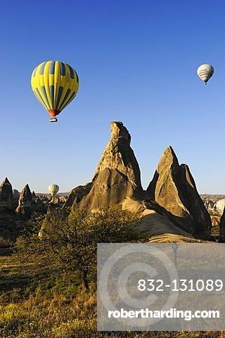Hot air balloon flight over the Goreme valley, Cappadocia, Turkey