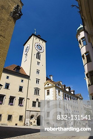 Altes Rathaus old town hall with tower and restaurant, Rathausplatz town hall square, Regensburg, Upper Palatinate, Bavaria, Germany, Europe