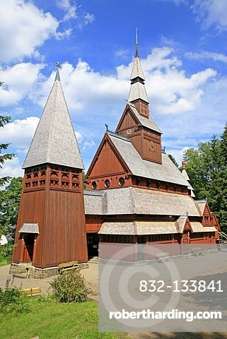 Stave church in Hahnenklee, Harz, Lower Saxony, Germany, Europe