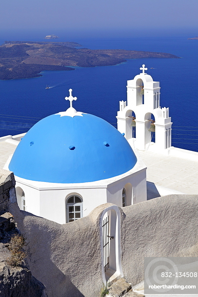 Church, Thira, Santorini, Cyclades, Aegean Sea, Greece, Europe