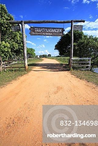Entrance gate to the Pantanal, Transpantaneira, road through the Pantanal wetland, Brazil, South America