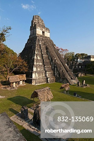 Temple I known also as temple of the Giant Jaguar, Tikal, archaeological site of the Maya civilization, Guatemala, Central America