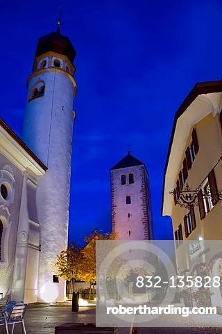 Church at night, San Candido, Trentino-Alto Adige, Italy, Europe