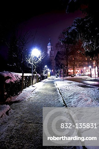 Berchtesgaden at night in winter, Bavaria, Germany, Europe