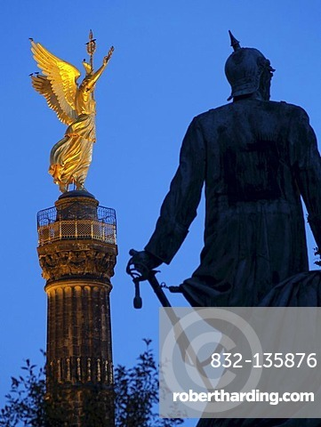 Berlin Victory Column and statue of Bismarck, Berlin, Germany, Europe