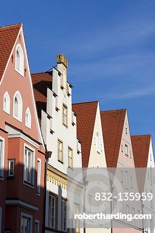 Houses in the Ludwigstrasse street, Landsberg am Lech, Bavaria, Germany, Europe