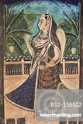 Ancient wall painting with a picture of a splendidly dressed woman in a Maharaja's Palace, City Palace in Bundi, Rajasthan, India, Asia