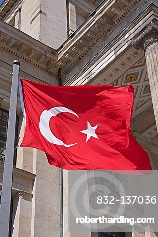 Turkish flag flying in front of the Konzerthaus Berlin, concert venue, Gendarmenmarkt, Mitte district, Berlin, Germany, Europe