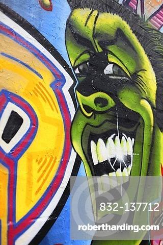 Graffiti on a wall, Rummelsburger Bucht, urban development area, Berlin Lichtenberg district, Berlin, Germany, Europe