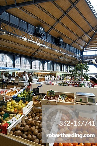 Typical covered market of Albi, Tarn, France, Europe