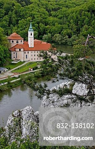 Weltenburg Abbey, the Danube Gorge between Kelheim and Weltenburg, rocks, Danube River, Bavaria, Germany, Europe