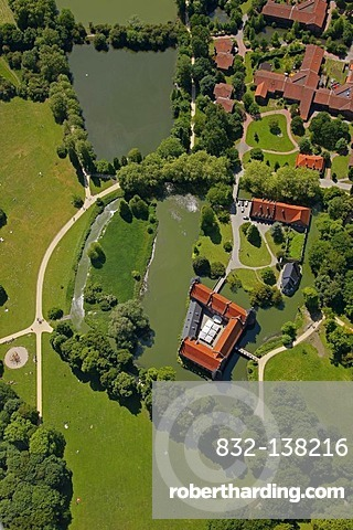 Aerial view, Herten palace gardens, Schloss Herten moated castle, baroque park, Herten, Ruhrgebiet area, North Rhine-Westphalia, Germany, Europe