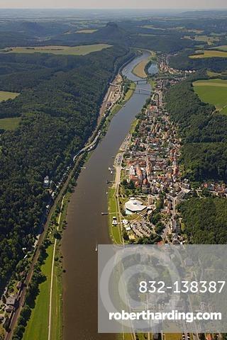 Aerial view, Bad Schandau, Elbtal valley, Elbe Sandstone Mountains, Saxon Switzerland district, Saxony, Germany, Europe