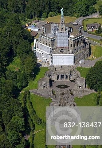 Aerial view, Octagon building with Hercules statue, Bergpark Wilhelmshoehe park, Kassel, Hesse, Germany, Europe