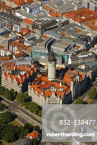 Aerial view, New City Hall, city administration, downtown, Leipzig, Saxony, Germany, Europe