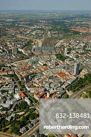 Aerial view, downtown, new town hall, urban administration, Leipzig, Saxony, Germany, Europe
