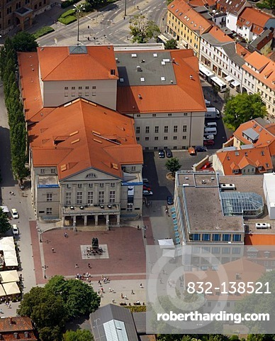 Aerial view, opera house, Goethe and Schiller monument, theater, Weimar, Thuringia, Germany, Europe