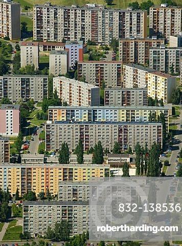 Aerial view, prefabricated buildings, residential area, Ceskych Bratri, Liberec, Czech Republic, Europe