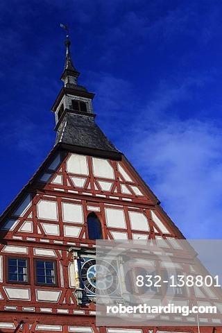 Town hall, gable with clock, Besigheim, Deutsche Fachwerkstrasse Street, Baden-Wuerttemberg, Germany, Europe