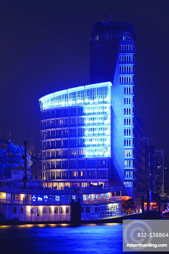 Blue illuminated building of the HTC Hanseatic Trade Center, at the Kehrwiederspitze at the Cruise Days 2010,