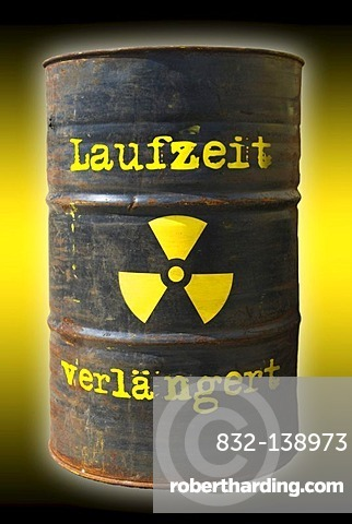 Rusty barrel with a radiation warning symbol and lettering