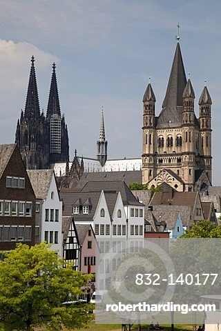 Old town, Cologne Cathedral and Great St. Martin Church, Cologne, North Rhine-Westphalia, Germany, Europe