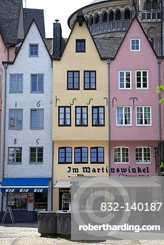 Row of houses, old town, Cologne, North Rhine-Westphalia, Germany, Europe