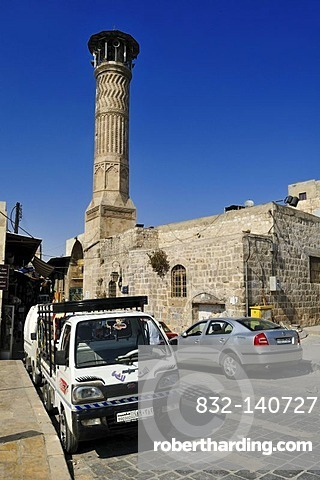Historic minaret and mosque in the historic town of Aleppo, Unesco World Heritage Site, Syria, Middle East, West Asia