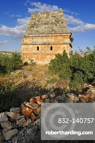 Byzantine tomb tower at the archeological site of Al-Bara, Dead Cities, Syria, Middle East, West Asia