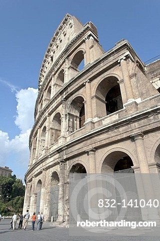 Part of the outer ring of the Colosseum which was stabilized with bricks by Roman architect Giuseppe Valadier in 1823, Piazza del Colosseo, Rome, Latium, Italy, Europe