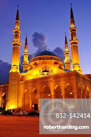 Khatem al-Anbiyaa Mosque at dusk, Beirut, Lebanon, Middle East, Orient