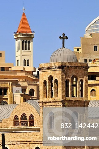 Tower of the Saint Georges Greek Orthodox Cathedral, St. George's Cathedral and the tower of the Capuchin Church of St. Louis, left, in the historic centre of Beirut, Lebanon, Middle East, Asia