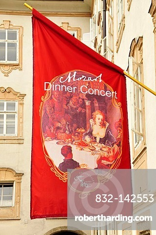 Banner, Mozart Dinner Concert, in front of a restaurant in the historic town centre of Salzburg, Salzburg, Austria, Europe