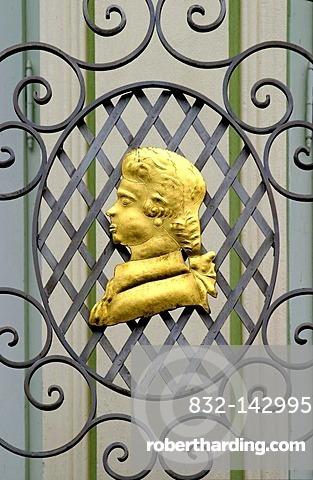 Mozart's head on a balcony railing, Carlsbad or Karlovy Vary, Czech Republic, Europe
