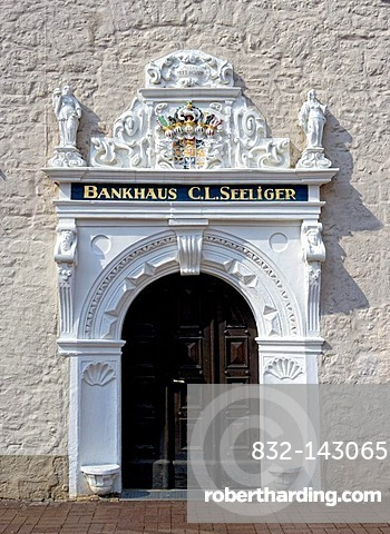 Renaissance portal, bank building, C. L. Seelinger, Wolfenbuettel, Lower Saxony, Germany, Europe