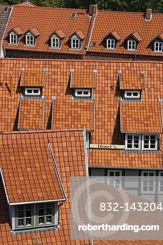 Red roofs, Quedlinburg, Saxony-Anhalt, Germany, Europe