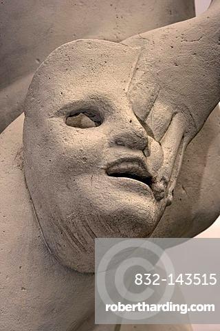 Theater mask, sculpture, Herrenhausen Gardens, Hannover, Lower Saxony, Germany, Europe