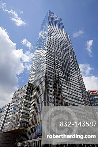 The KoelnTurm skyscraper in the MediaPark, Cologne, North Rhine-Westphalia, Germany, Europe