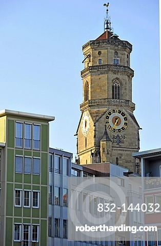 Market square in front of west tower of the Stiftskirche church, Stuttgart, Baden-Wuerttemberg, Germany, Europe