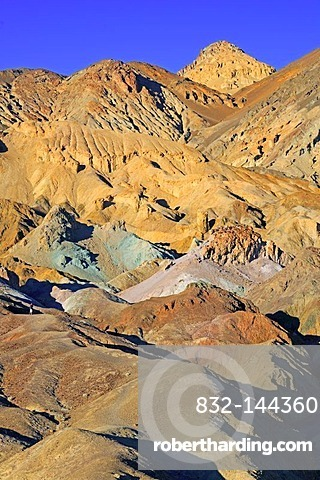 Rock colours caused by the oxidation of different metals, Artist's Palette at dusk, Death Valley National Park, California, USA, North America