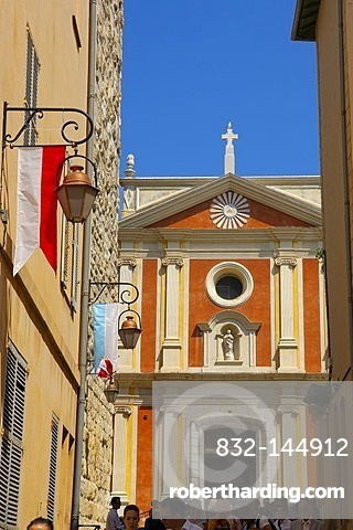 Cathedral, old town, Antibes, Provence-Alpes-Cote d'Azur, French Riviera, France, Europe