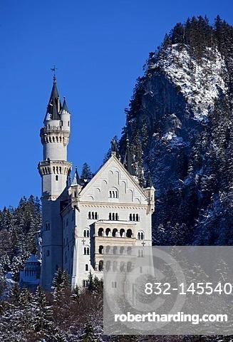 Neuschwanstein Castle in winter, Bavaria, Germany, Europe