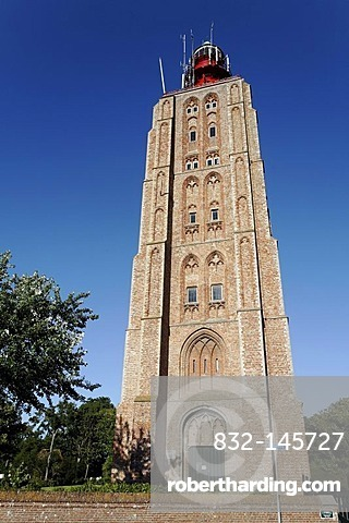Historic church tower, today used as a lighthouse, Westkapelle, Walcheren peninsula, Zeeland province, Netherlands, Benelux, Europe